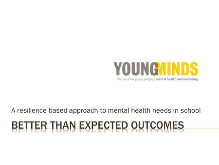 A resilience based approach to mental health needs in school.