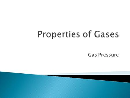 Gas Pressure A gas consists of small particles that: 1.move rapidly in straight lines. 2.have essentially no attractive (or repulsive) forces. 3.are.