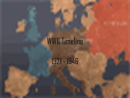 WWII Timeline 1921 - 1946. 1921-1932 July 29, 1921 Adolf Hitler assumes control of Nazi Party in Germany. October 27, 1921 Benito Mussolini appointed.