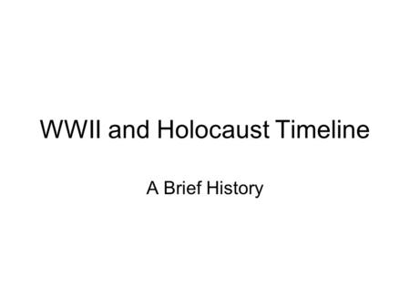 WWII and Holocaust Timeline A Brief History. January 30 th, 1933 Hitler is Appointed Chancellor of Germany.