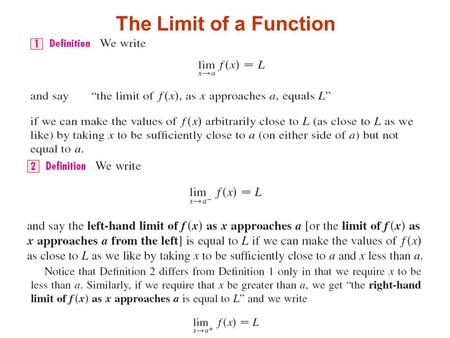 The Limit of a Function. Home Calculating Limits Using the Limit Laws.