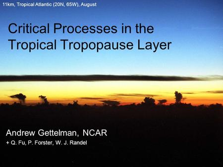 Critical Processes in the Tropical Tropopause Layer Andrew Gettelman, NCAR + Q. Fu, P. Forster, W. J. Randel 11km, Tropical Atlantic (20N, 65W), August.