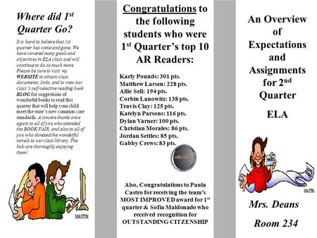 Where did 1 st Quarter Go? An Overview of Expectations and Assignments for 2 nd Quarter ELA Mrs. Deans Room 234 It is hard to believe that 1st quarter.