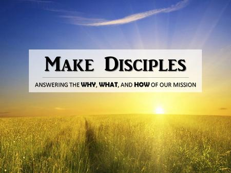 Make Disciples ANSWERING THE WHY, WHAT, AND HOW OF OUR MISSION.
