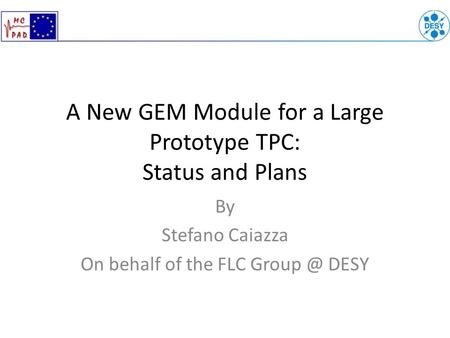 A New GEM Module for a Large Prototype TPC: Status and Plans By Stefano Caiazza On behalf of the FLC DESY.