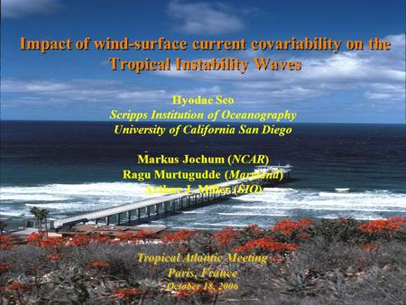 Impact of wind-surface current covariability on the Tropical Instability Waves Tropical Atlantic Meeting Paris, France October 18, 2006 Tropical Atlantic.
