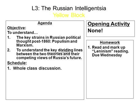 L3: The Russian Intelligentsia Yellow Block Agenda Objective: To understand… 1.The key strains in Russian political thought post-1860: Populism and Marxism.