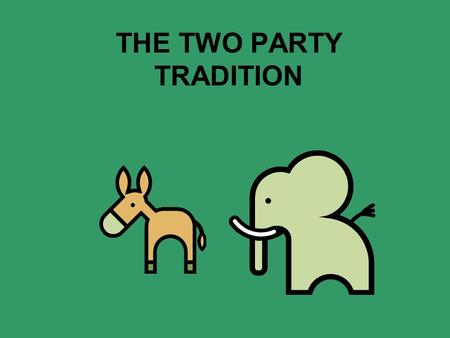 THE TWO PARTY TRADITION. Phase 1: 1789-1800 Federalists Government of the wealthy, best educated Strong Central GOV Support commerce, manufacturing Executive.