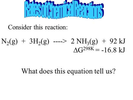 Consider this reaction: N 2 (g) + 3H 2 (g) ----> 2 NH 3 (g) + 92 kJ  G 298K = -16.8 kJ What does this equation tell us?