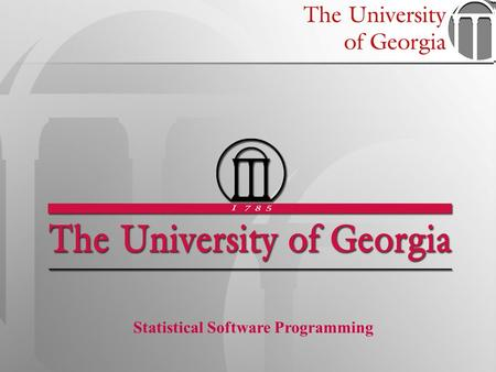 1 Statistical Software Programming. STAT 6360 –Statistical Software Programming Data Input in SAS Many ways to get your data into SAS: –Through data entry.