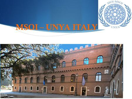 MSOI – UNYA ITALY. What is MSOI?  It is a youth movement composed by students coming from different universities, joined by a common passion for International.