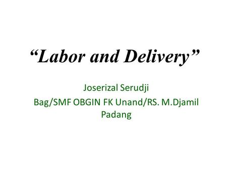 """Labor and Delivery"" Joserizal Serudji Bag/SMF OBGIN FK Unand/RS. M.Djamil Padang."