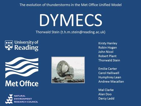 DYMECS The evolution of thunderstorms in the Met Office Unified Model Kirsty Hanley Robin Hogan John Nicol Robert Plant Thorwald Stein Emilie Carter Carol.