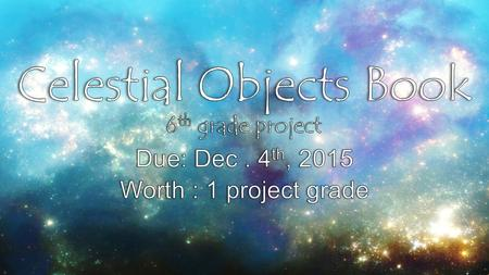 Objective: Student will create a project to compare / contrast celestial objects in space. TEK: 6.11 A/B Items to be included… The Inner Planets (Mercury,