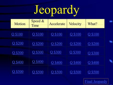 Jeopardy Motion Speed & Time AccelerateVelocity What? Q $100 Q $200 Q $300 Q $400 Q $500 Q $100 Q $200 Q $300 Q $400 Q $500 Final Jeopardy.