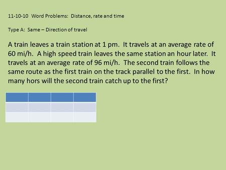 11-10-10 Word Problems: Distance, rate and time Type A: Same – Direction of travel A train leaves a train station at 1 pm. It travels at an average rate.
