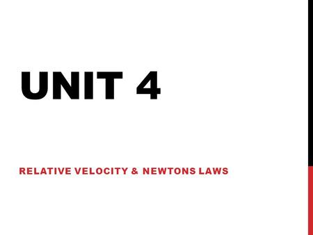 UNIT 4 RELATIVE VELOCITY & NEWTONS LAWS. FRAMES OF REFERENCE Velocity measurements differ in different frames of reference. Observers using different.