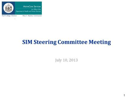 N SIM Steering Committee Meeting July 10, 2013 1.