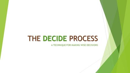 THE DECIDE PROCESS A TECHNIQUE FOR MAKING WISE DECISIONS.