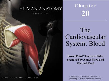 Copyright © 2008 Pearson Education, Inc., publishing as Benjamin Cummings C h a p t e r 20 The Cardiovascular System: Blood PowerPoint ® Lecture Slides.