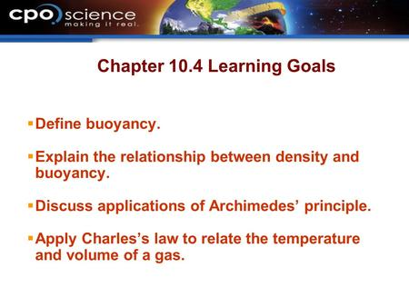 Chapter 10.4 Learning Goals