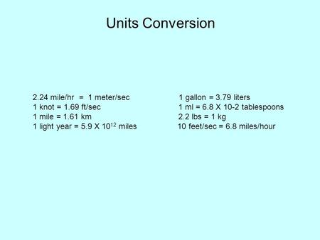 Units Conversion 2.24 mile/hr = 1 meter/sec 1 gallon = 3.79 liters 1 knot = 1.69 ft/sec 1 ml = 6.8 X 10-2 tablespoons 1 mile = 1.61 km 2.2 lbs = 1 kg 1.