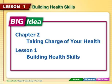 Chapter 2 Taking Charge of Your Health Lesson 1 Building Health Skills.