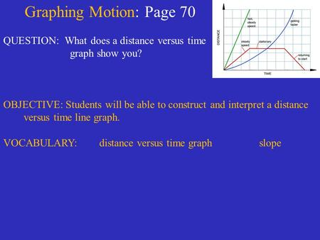Graphing Motion: Page 70 QUESTION: What does a distance versus time graph show you? OBJECTIVE: Students will be able to construct and interpret a distance.