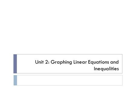 Unit 2: Graphing Linear Equations and Inequalities.