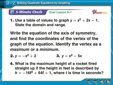 Over Lesson 9–1. Splash Screen Solving Quadratic Equations By Graphing Lesson 9-2.