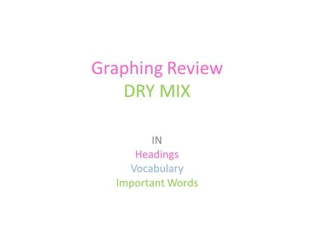 Graphing Review DRY MIX IN Headings Vocabulary Important Words.
