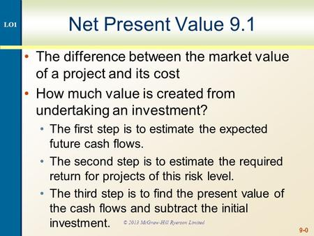 9-0 Net Present Value 9.1 The difference between the market value of a project and its cost How much value is created from undertaking an investment? The.