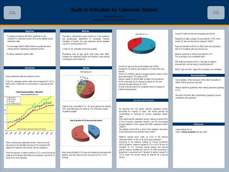 TEMPLATE DESIGN © 2008 www.PosterPresentations.com Audit on Indication for Caesarean Section Basirat Towobola Causeway Hospital, Coleraine, Northern Ireland,