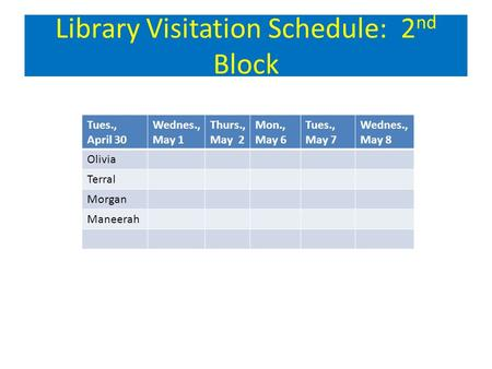 Library Visitation Schedule: 2 nd Block Tues., April 30 Wednes., May 1 Thurs., May 2 Mon., May 6 Tues., May 7 Wednes., May 8 Olivia Terral Morgan Maneerah.
