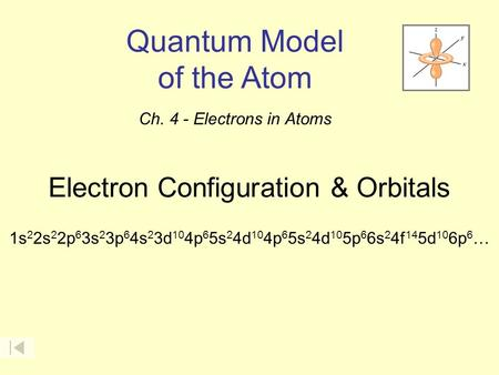 Electron Configuration & Orbitals 1s 2 2s 2 2p 6 3s 2 3p 6 4s 2 3d 10 4p 6 5s 2 4d 10 4p 6 5s 2 4d 10 5p 6 6s 2 4f 14 5d 10 6p 6 … Quantum Model of the.