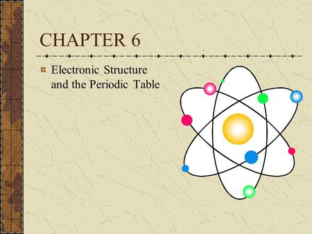 CHAPTER 6 Electronic Structure and the Periodic Table.