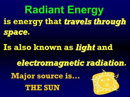 Radiant Energy travels through space is energy that travels through space. light Is also known as light and <strong>electromagnetic</strong> radiation <strong>electromagnetic</strong> radiation.