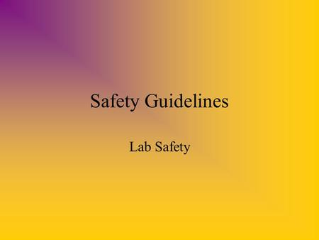 Safety Guidelines Lab Safety. Eye Protection Always wear goggles when handling acids or bases, using an open flame or performing any other activity that.