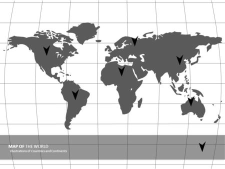 MAP OF THE WORLD Illustrations of Countries and Continents.