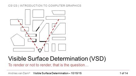 CS123 | INTRODUCTION TO COMPUTER GRAPHICS Andries van Dam © Visible Surface Determination (VSD) To render or not to render, that is the question… 1 of.