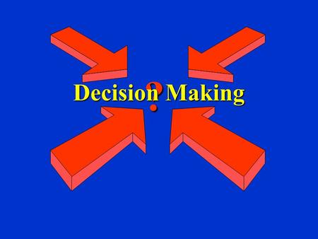 ? Decision Making. The Decision-Making Process Programmed Decision - a simple, routine matter for which a manager has an established decision rule Nonprogrammed.