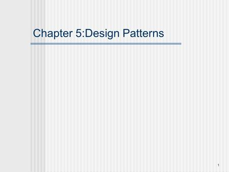 1 Chapter 5:Design Patterns. 2 What are design pattern?  Schematic description of design solution to recurring problems in software design and,  Reusable.
