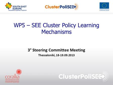 WP5 – SEE Cluster Policy Learning Mechanisms 3° Steering Committee Meeting Thessaloniki, 18-19.09.2013.