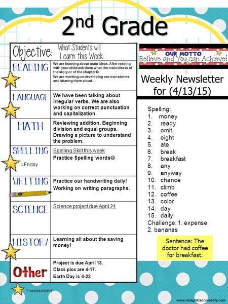 Weekly Newsletter for (4/13/15) We are learning about main ideas. After reading with your child ask them what the main idea is of the story or of the chapter.