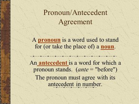 Pronoun/Antecedent Agreement A pronoun is a word used to stand for (or take the place of) a noun.pronounnoun An antecedent is a word for which a pronoun.