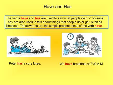 Have and Has The verbs have and has are used to say what people own or possess. They are also used to talk about things that people do or get, such as.