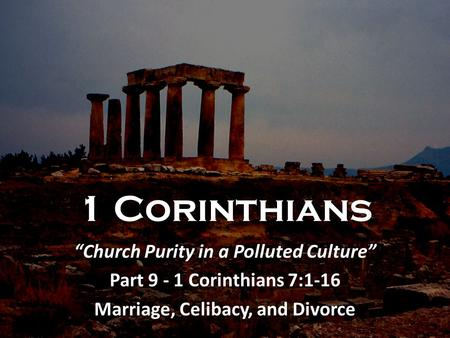 """Church Purity in a Polluted Culture"" Marriage, Celibacy, and Divorce"