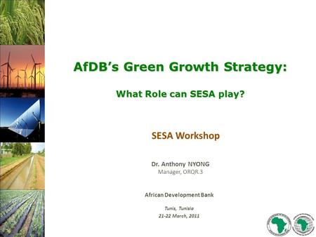 African Development Bank Tunis, Tunisia 21-22 March, 2011 Dr. Anthony NYONG Manager, ORQR.3 SESA Workshop AfDB's Green Growth Strategy: What Role can SESA.