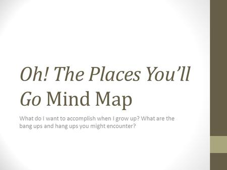 Oh! The Places You'll Go Mind Map What do I want to accomplish when I grow up? What are the bang ups and hang ups you might encounter?