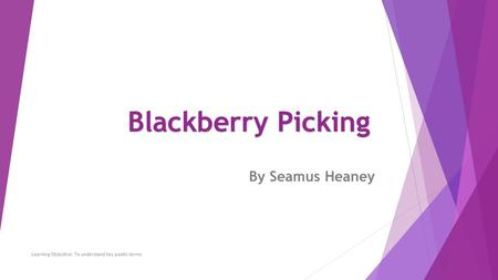 By Seamus Heaney Learning Objective: To understand key poetic terms Blackberry Picking.